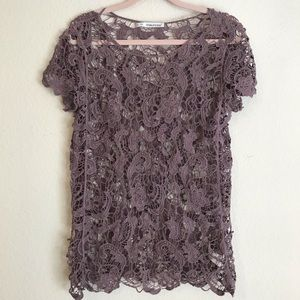 Maurice's+ Crochet Floral Paisley Lace Top